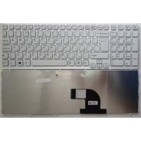 Клавиатура Sony SVE1511 белая с рамкой большой enter