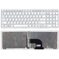 Клавиатура Sony SVE1511 белая с рамкой c подсветкой